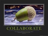Samenwerken, mieren dragen samen een eikel, met Engelse tekst: Collaborate Print