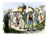 Slaves Bringing in Loads of Cotton after a Day's Picking Giclee Print