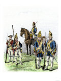 British and Hessian Soldiers in the American Revolution Premium Giclee Print