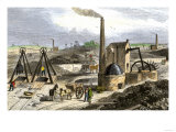 Whimsey Engine Drawing Coal in the Staffordshire Mines, England, c.1850 Giclee Print