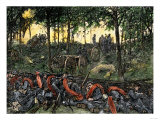 Confederate Infantry Waiting Out an Artillery Duel in the Devil's Den, Battle of Gettysburg Giclee Print