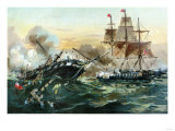 Naval Duel Between the Frigate USS Constitution and the British Ship Guerriere, War of 1812 Premium Giclee Print