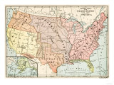 Map of Territorial Growth of the United States from 1783-1867 Premium Giclee Print