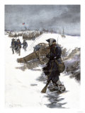 Valley Forge Soldier on Picket Duty in the Snow, Awaiting His Relief Shift, American Revolution Giclee Print