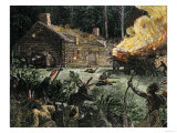 Native Americans' Night Attack, Setting a Pioneer Log Cabin on Fire Giclee Print