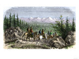 Group of Pioneer Horsemen Getting Their First Glimpse of the Sierra Nevada Range 1800 Giclee Print