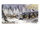 Colonel Chivington Leading U.S. Cavalry Massacre of Black Kettle's Village at Sand Creek, c.1864 Reproduction procédé giclée