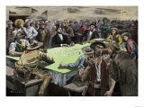 California Gold Rush Miners in a Gambling Saloon Playing Faro Premium Giclee Print