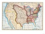 Mapa de U.S. en 1803, Presentando Luisiana Purchase Lámina giclée