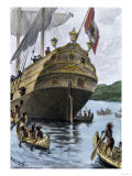 Henry Hudson's Ship, Half Moon, Arriving at Manhattan Island, c.1609 Premium Giclee Print
