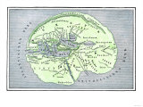 Map of the Flat Earth According to Herodotus, Ancient Greek Historian Giclee Print