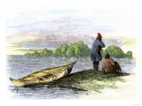 Trappers Beside a Waterway Watching for Otter Giclee Print