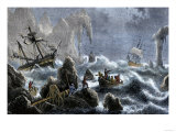 Vitus Bering's Russian Expedition Ships Wrecked Upon the Aleutian Isles, c.1741 Giclee Print