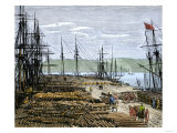 Lumber Wharf on the North Pacific Coast, c.1880 Giclee Print