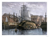 Old Whaling Ship Hove Down for Repairs, New Bedford, Massachusetts, c.1800 Premium Giclee Print