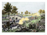 Union Troops Battling Their Way across Burnside Bridge in the Battle of Antietam Giclee Print