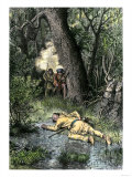 Death of Wampanoag Leader Philip, Ending King Philip's War, c.1676 Giclee Print