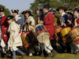 British Fife and Drum Corps Marching in a Reenactment at Yorktown Battlefield, Virginia Photographic Print