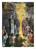 French Missionaries Preaching to Native Americans Giclee Print