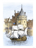 Hudson&#39;s Ship, Half-Moon, Leaving Amsterdam for the New World, c.1609 Giclee Print