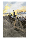 General Washington and French General Rochambeau Overseeing the Trenches at Yorktown, c.1781 Lámina giclée