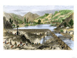 River Operations at Murderer's Bar during the California Gold Rush, c.1850 Giclee Print