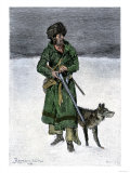 French-Canadian Trapper in the Snow Giclee Print