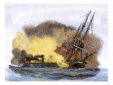 Merrimac, a Confederate Ironclad Ship, Rams the USS Cumberland during the American Civil War Giclee Print