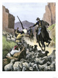 U.S. Cavalry Soldier Shooting Apache Sheep-Herders in a Canyon Giclee Print
