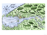 Champlain's 1613 Map of His Settlement at Port Royal, Now Annapolis Royal, Nova Scotia, Canada Premium Giclee Print