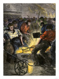 Iron Industry Workers Manufacturing Steel in England, c.1800 Premium Giclee Print