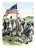 American Soldiers Hoisting the New 13-Star U.S. Flag during the Revolutionary War Giclee Print