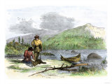 Trappers Finding a Beaver in a Leghold Trap Giclee Print