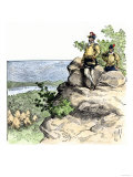 Jacques Cartier on the Summit of Mont Real, Now Montreal, Canada, c.1535 Premium Giclee Print