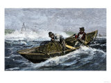 Lobstermen Hauling Traps Off the Coast of Maine, c.1800 Premium Giclee Print