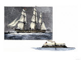 Frigate Merrimac Before and after Conversion Into an Iron-Clad Confederate Warship Giclee Print