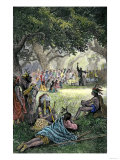 Spanish Missionaries Addressing Native Americans in California Giclee Print
