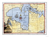 Map of Hudson's Bay, Canada, Showing Hudson's Strait, c.1722 Giclee Print