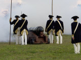 Continental Army Reenactors Firing a Cannon at Yorktown Battlefield, Virginia Photographic Print