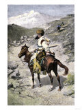 Native American Trapper in the Rocky Mountains of the Northwest Giclee Print