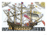 Ark Royal, the Flagship Which Led the English Fleet against the Spanish Armada, c.1588 Giclee Print