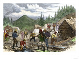Prospectors Working the Gregory Gold Diggings in the Colorado Rockies, May 1859 Premium Giclee Print