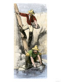 Prospectors Panning for Gold during the California Gold Rush Premium Giclee Print