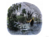 Early Explorers Coming Ashore Along a Tropical Coast in the New World Premium Giclee Print