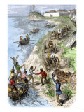 Fur Traders Arriving at a Hudson Bay Company Post in Boats and Wagons Premium Giclee Print