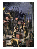 Patriots Dressed as Indians Destroying Tea in Boston Harbor, Called the Boston Tea Party, c.1773 Giclee Print