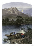 Fur Traders' Boat Piled High with Pelts on the Bear River, Utah Giclee Print