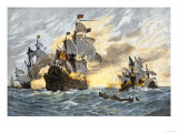 Destruction of John Smith's Ship by the Spanish, Ending His New England Venture Premium Giclee Print