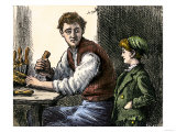 Woodworker Showing Young Boy His Tools and Techniques Giclee Print