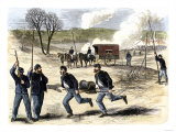 Union Army Signal Corps Setting Up Telegraph Wire during a Civil War Battle, c.1863 Giclee Print